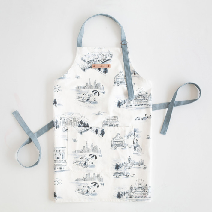 Chicago Modern Toile Apron