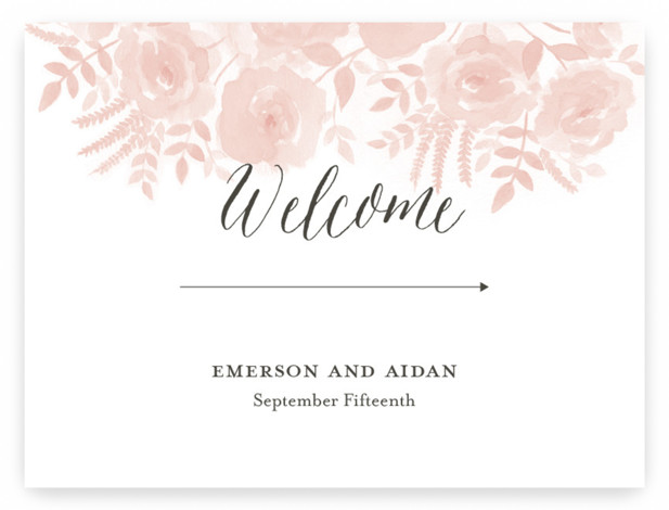 Watercolor Floral Large Custom Wedding Sign