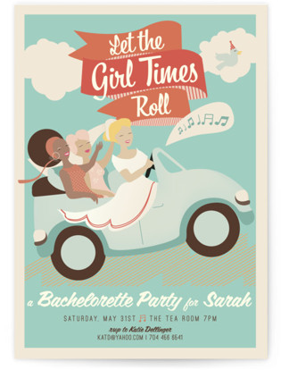 Let the Girl Times Roll! Bachelorette Party Invitations