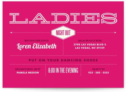 Ladies Night Bachelorette Party Invitations