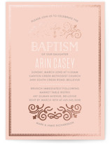 Creamy Swirls Foil-Pressed Baptism and Christening Invitations