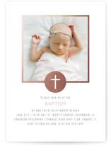 Golden Cross Foil-Pressed Baptism and Christening Invitations