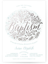 The Bouquet Foil-Pressed Baptism and Christening Invitations