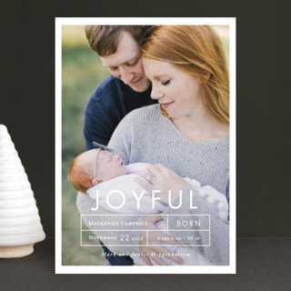 More Joy Holiday Birth Announcement Postcards