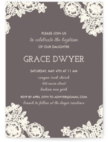 Lace and Kraft Baptism & Christening Announcements