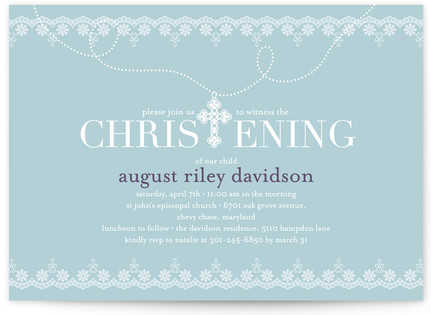 Cross Pendant Baptism and Christening Invitations