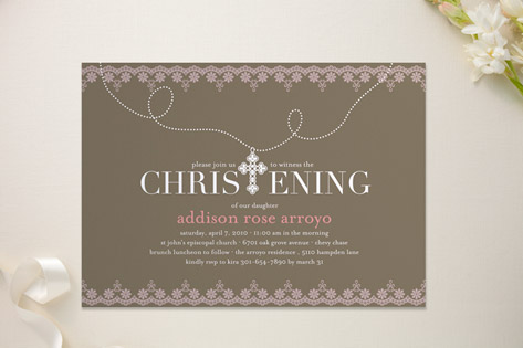 Cross Pendant Baptism & Christening Announcements