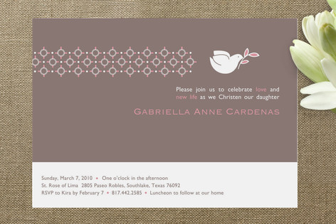 Dove on Gray Baptism & Christening Announcements