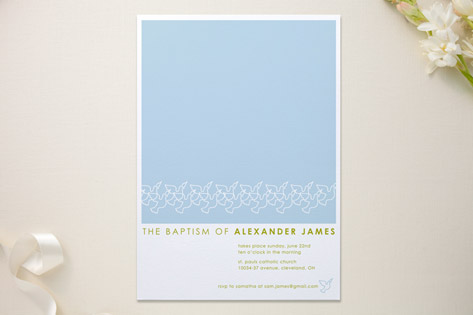 Dove Outline Baptism & Christening Announcements