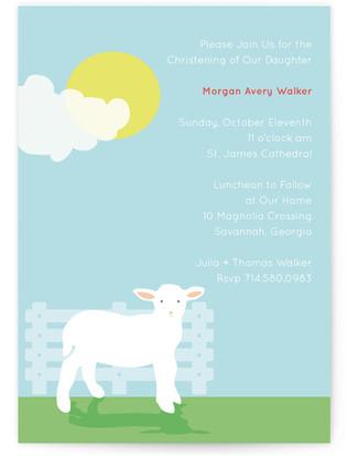 Little Lamb Baptism and Christening Invitations