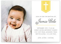 Delicate Cross Baptism & Christening Announcements