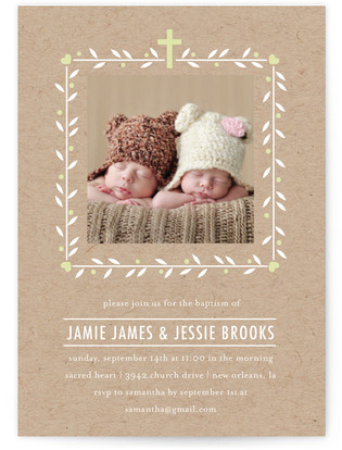 Double the Love Baptism and Christening Invitations