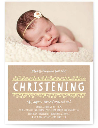 Delicate Bloom Baptism and Christening Invitations