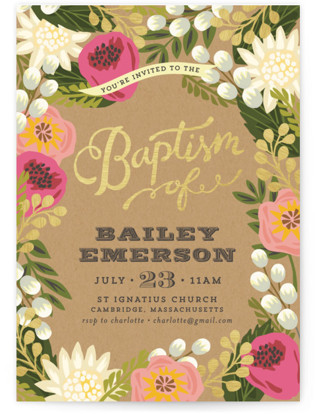 Floral Canopy Baptism and Christening Invitations
