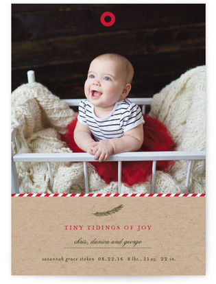 A Merry Little Christmas Holiday Birth Announcements