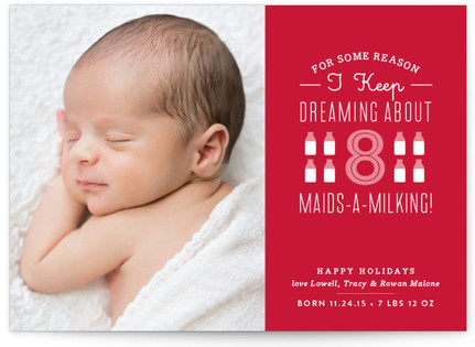 Maids a Milking Holiday Birth Announcements