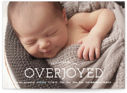 Overjoyed Holiday Birth Announcements