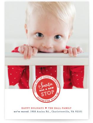 Santa Stop Holiday Birth Announcements