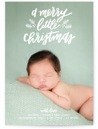 A Little Christmas Holiday Birth Announcements