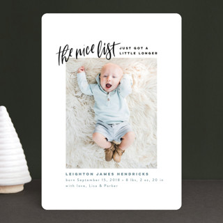 Made the Nice List Holiday Birth Announcements