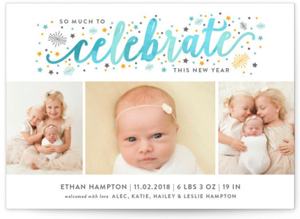 Much to Celebrate Holiday Birth Announcements