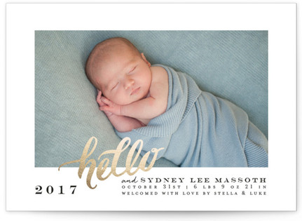 Hello New Baby Holiday Birth Announcements