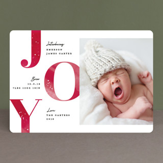 Joyous intro Holiday Birth Announcements