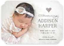 A Little Heart Foil-Pressed Birth Announcements