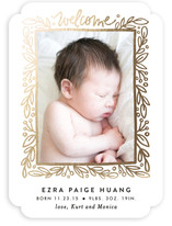 Foliage Frame Foil-Pressed Birth Announcements