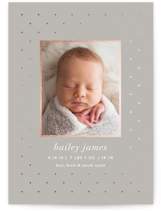Lustre Foil-Pressed Birth Announcement Cards