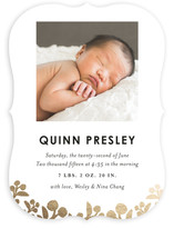 Shimmering Leaves Foil-Pressed Birth Announcements