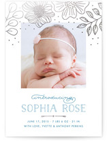 Floral Canopy Foil-Pressed Birth Announcements