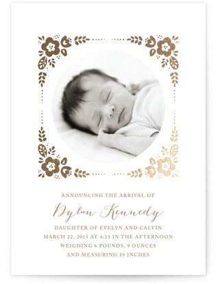 Morning Glory Foil-Pressed Birth Announcement Cards
