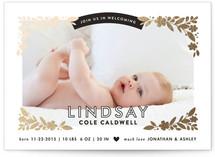 Floral Corners Foil-Pressed Birth Announcements
