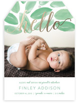 Welcoming Foliage Foil-Pressed Birth Announcements