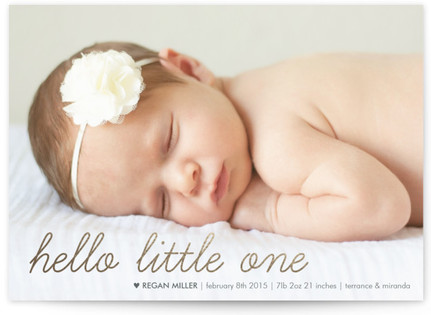 Oh Hello Little One Foil-Pressed Birth Announcement Cards