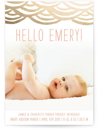 Watercolor Bunting Foil-Pressed Birth Announcement Cards
