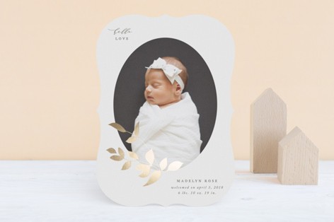 Foiled Branch Foil-Pressed Birth Announcements