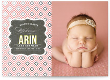 Vintage Paper Foil-Pressed Birth Announcement Cards