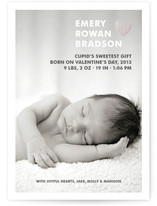 Simple Hearts Foil-Pressed Birth Announcements