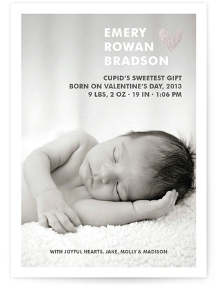 Simple Hearts Foil-Pressed Birth Announcement Cards