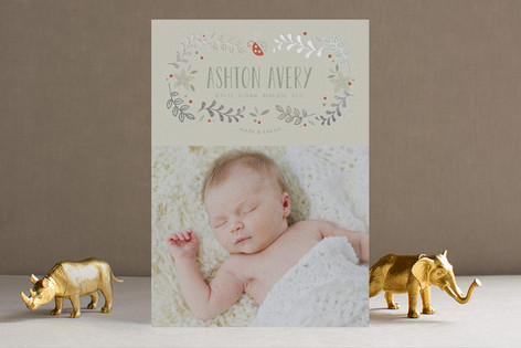 Sweet Little Ladybug Foil-Pressed Birth Announcements