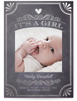 It's A Girl Vintage Chalkboard Foil-Pressed Birth Announcements