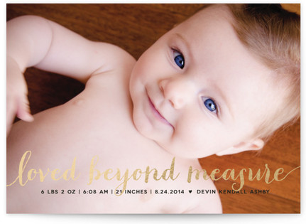 Numbers Game Foil-Pressed Birth Announcement Cards