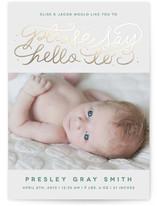 Say Hello Foil-Pressed Birth Announcement Cards
