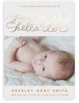 Say Hello Foil-Pressed Birth Announcements