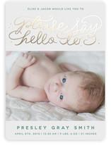 Say Hello Foil-Pressed Birth Announcements