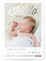Tagged with Love Foil-Pressed Birth Announcement Cards