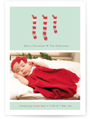 A New Stocking Foil-Pressed Birth Announcement Cards