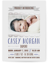 Scalloped Banner Foil-Pressed Birth Announcements
